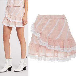 New LoveShackFancy Ruffle Pink Mini Skirt